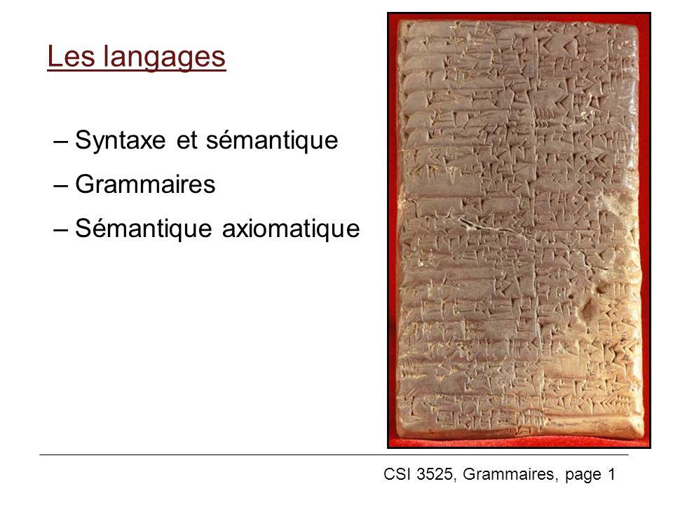 CSI 3525, Grammaires, page 22 Exemple: Une grammaire pour les expressions Sept symboles terminaux: + - * ( ) x y Quatre non-terminaux: expr term factor var On peut nommer ces symboles comme on veut: comme quand on choisit les noms de variables dans un programme, il est bon de choisir des symboles non-terminaux ayant un nom qui aide à comprendre leur sens.