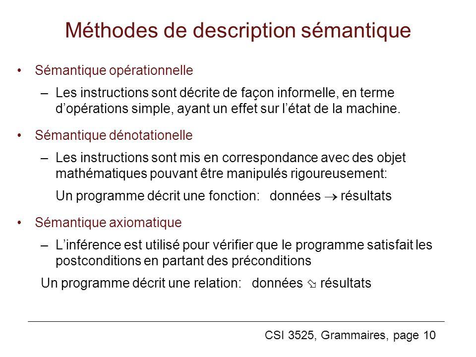 CSI 3525, Grammaires, page 10 Méthodes de description sémantique Sémantique opérationnelle –Les instructions sont décrite de façon informelle, en term