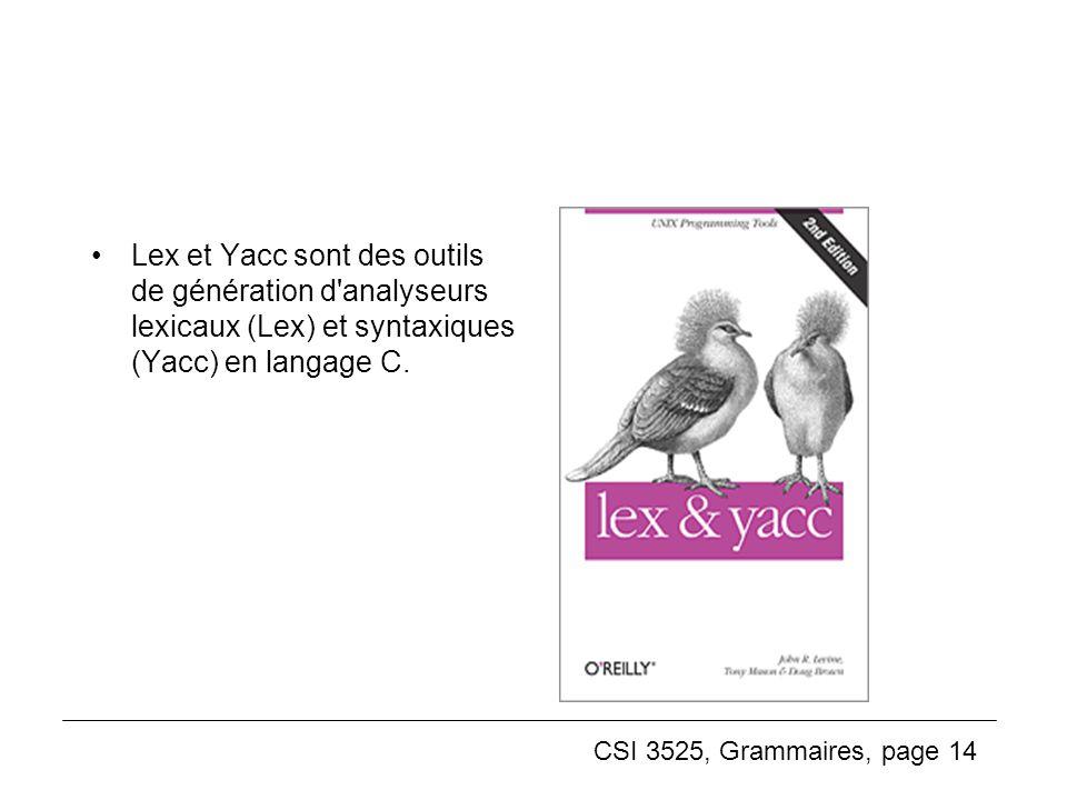 CSI 3525, Grammaires, page 14 Lex et Yacc sont des outils de génération d'analyseurs lexicaux (Lex) et syntaxiques (Yacc) en langage C.