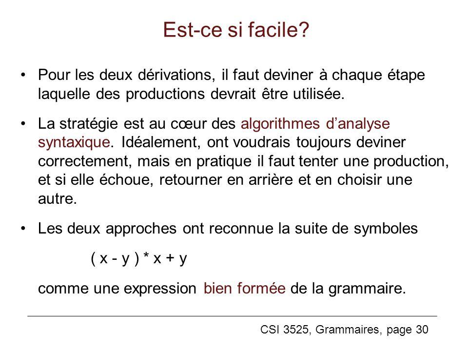 CSI 3525, Grammaires, page 30 Pour les deux dérivations, il faut deviner à chaque étape laquelle des productions devrait être utilisée. La stratégie e