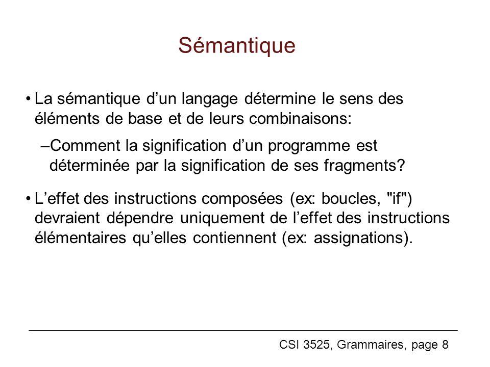CSI 3525, Grammaires, page 8 Sémantique La sémantique dun langage détermine le sens des éléments de base et de leurs combinaisons: –Comment la signifi