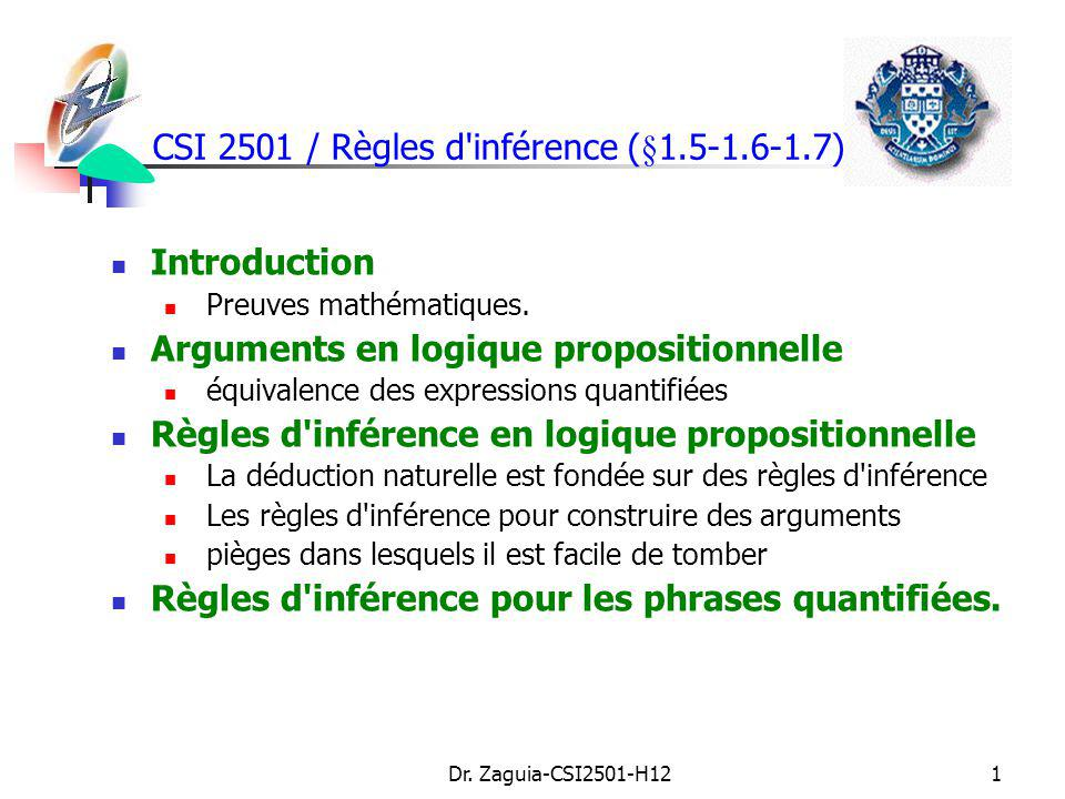 Dr. Zaguia-CSI2501-H121 CSI 2501 / Règles d'inférence (§1.5-1.6-1.7) Introduction Preuves mathématiques. Arguments en logique propositionnelle équival