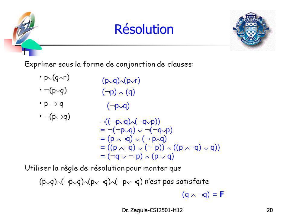 Dr. Zaguia-CSI2501-H1220Dr. Zaguia-CSI2501-H1220 Résolution Exprimer sous la forme de conjonction de clauses: p (q r) (p q) p q (p q) Utiliser la règl
