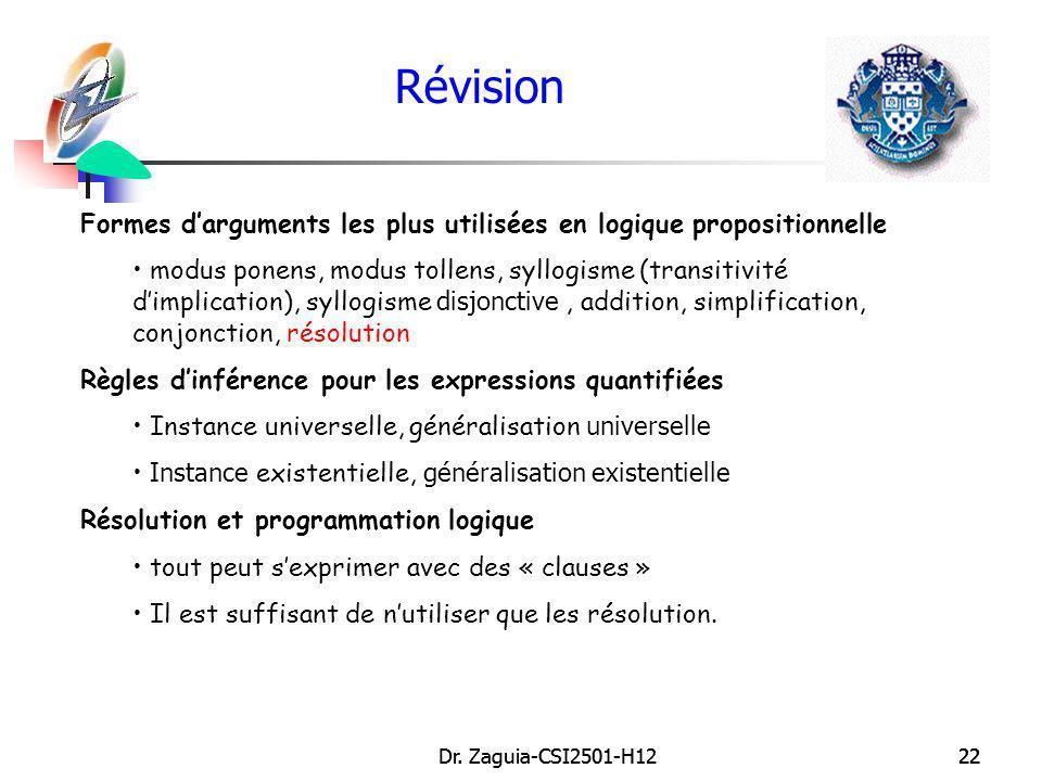 Dr. Zaguia-CSI2501-H1222Dr. Zaguia-CSI2501-H1222 Révision Formes darguments les plus utilisées en logique propositionnelle modus ponens, modus tollens