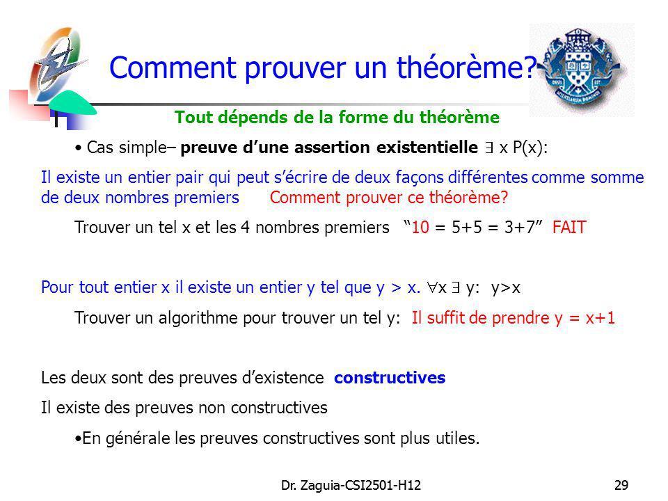 Dr. Zaguia-CSI2501-H1229Dr. Zaguia-CSI2501-H1229 Comment prouver un théorème? Tout dépends de la forme du théorème Cas simple– preuve dune assertion e