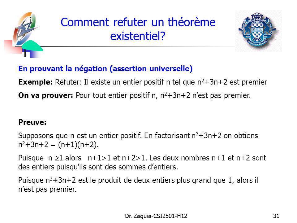 Dr. Zaguia-CSI2501-H1231 Comment refuter un théorème existentiel? En prouvant la négation (assertion universelle) Exemple: Réfuter: Il existe un entie
