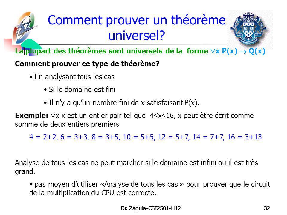 Dr. Zaguia-CSI2501-H1232Dr. Zaguia-CSI2501-H1232 Comment prouver un théorème universel? La plupart des théorèmes sont universels de la forme x P(x) Q(