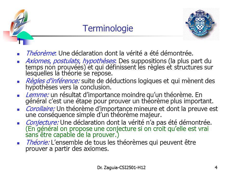 Dr. Zaguia-CSI2501-H124 4 Terminologie Théorème: Une déclaration dont la vérité a été démontrée. Axiomes, postulats, hypothèses: Des suppositions (la