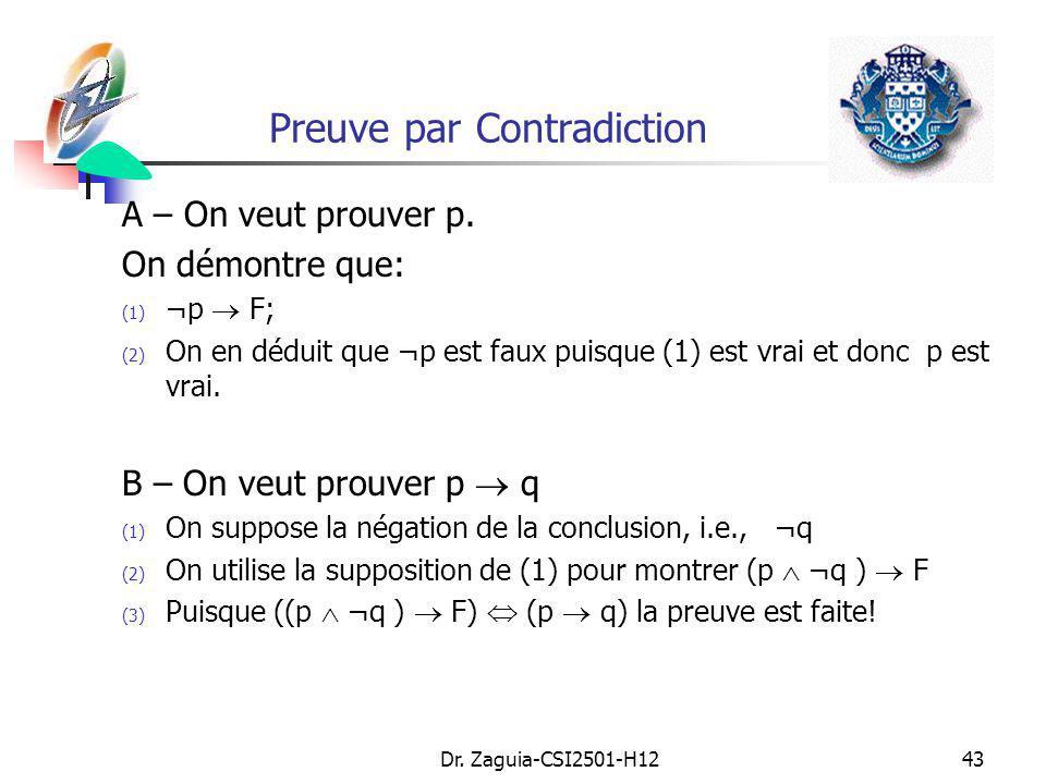Dr. Zaguia-CSI2501-H1243 Preuve par Contradiction A – On veut prouver p. On démontre que: (1) ¬p F; (2) On en déduit que ¬p est faux puisque (1) est v
