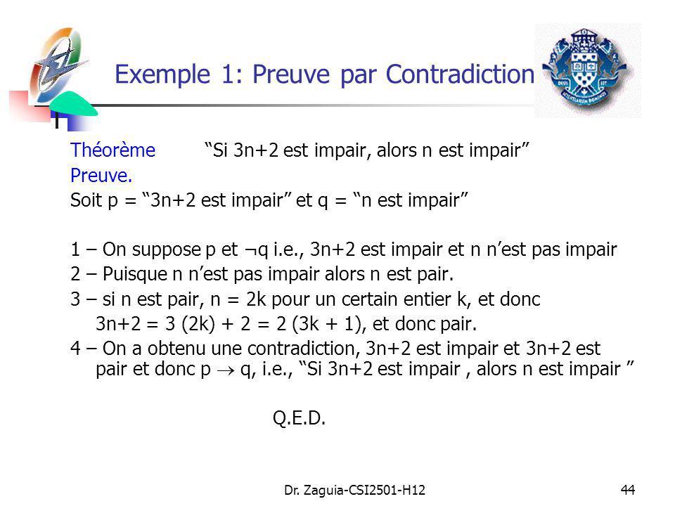 Dr. Zaguia-CSI2501-H1244 ThéorèmeSi 3n+2 est impair, alors n est impair Preuve. Soit p = 3n+2 est impair et q = n est impair 1 – On suppose p et ¬q i.