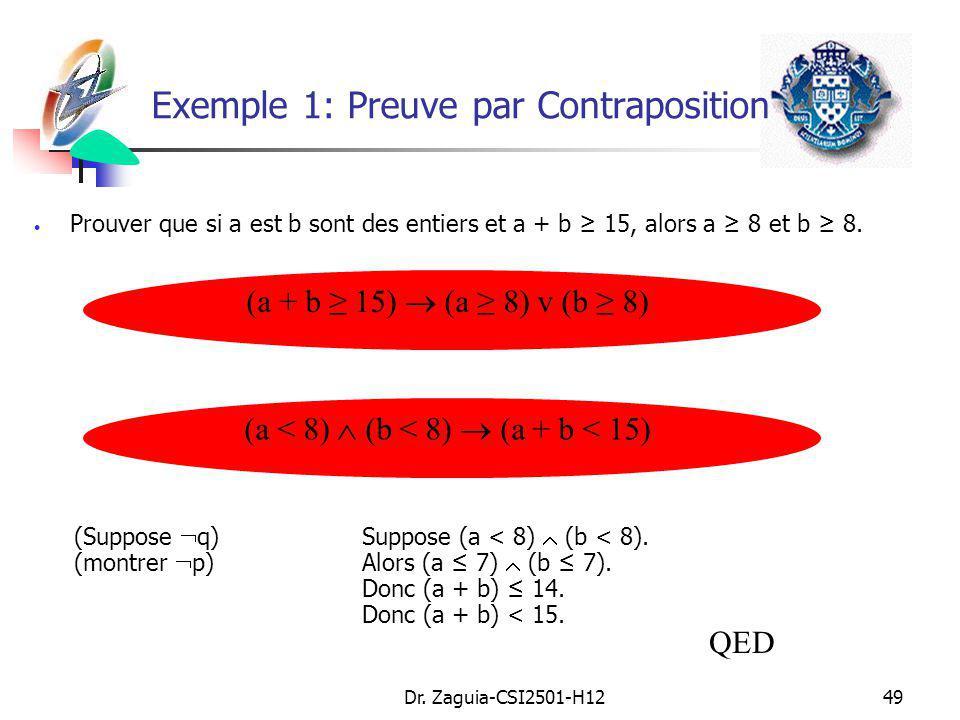 Dr. Zaguia-CSI2501-H1249 Prouver que si a est b sont des entiers et a + b 15, alors a 8 et b 8. (a + b 15) (a 8) v (b 8) (Suppose q) Suppose (a < 8) (