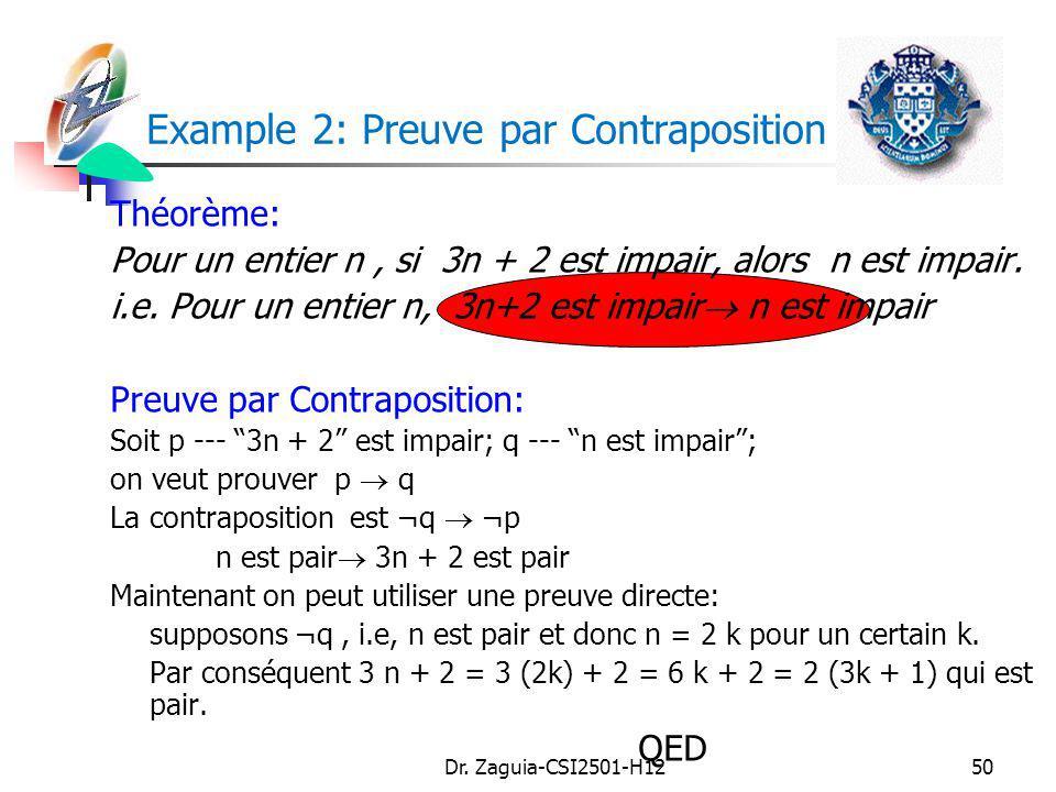 Dr. Zaguia-CSI2501-H1250 Example 2: Preuve par Contraposition Théorème: Pour un entier n, si 3n + 2 est impair, alors n est impair. i.e. Pour un entie