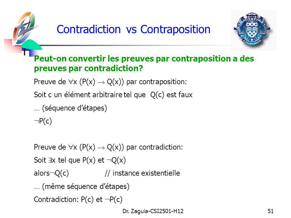 Dr. Zaguia-CSI2501-H1251 Contradiction vs Contraposition Peut-on convertir les preuves par contraposition a des preuves par contradiction? Preuve de x