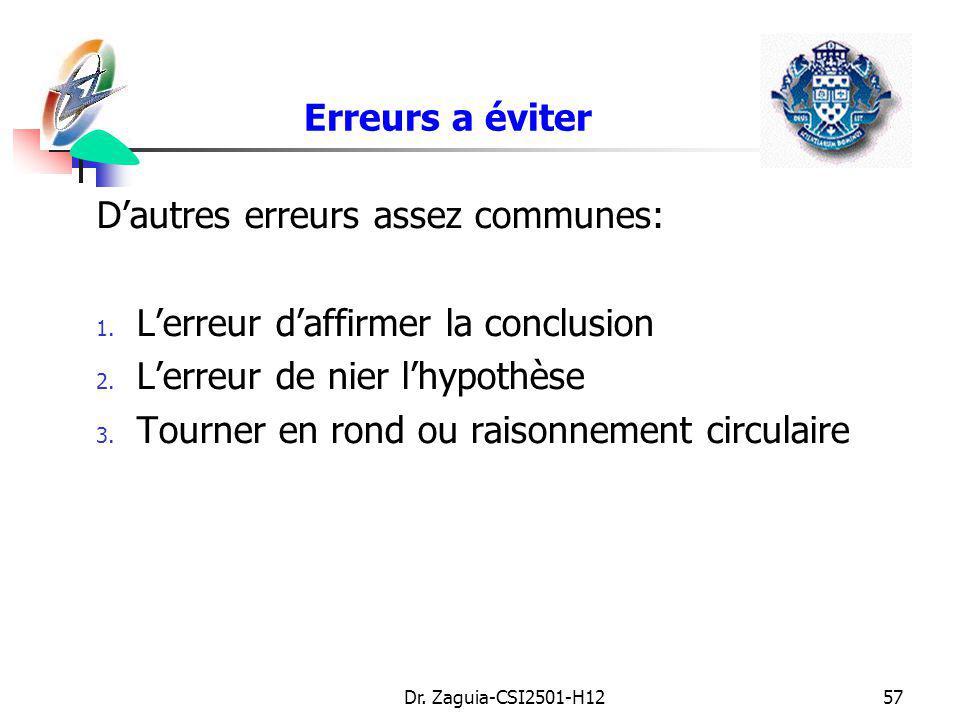 Dr. Zaguia-CSI2501-H1257 Erreurs a éviter Dautres erreurs assez communes: 1. Lerreur daffirmer la conclusion 2. Lerreur de nier lhypothèse 3. Tourner