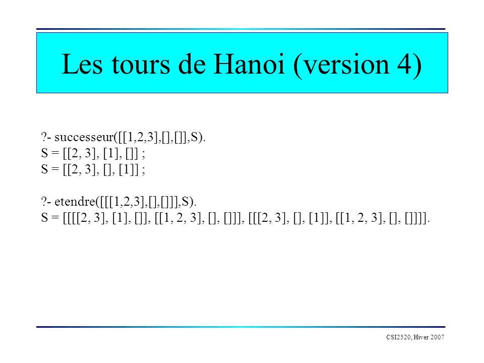 Les tours de Hanoi (version 4) CSI2520, Hiver 2007 ?- successeur([[1,2,3],[],[]],S). S = [[2, 3], [1], []] ; S = [[2, 3], [], [1]] ; ?- etendre([[[1,2
