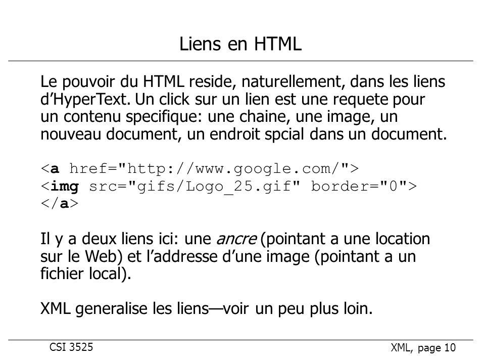 CSI 3525 XML, page 10 Liens en HTML Le pouvoir du HTML reside, naturellement, dans les liens dHyperText.