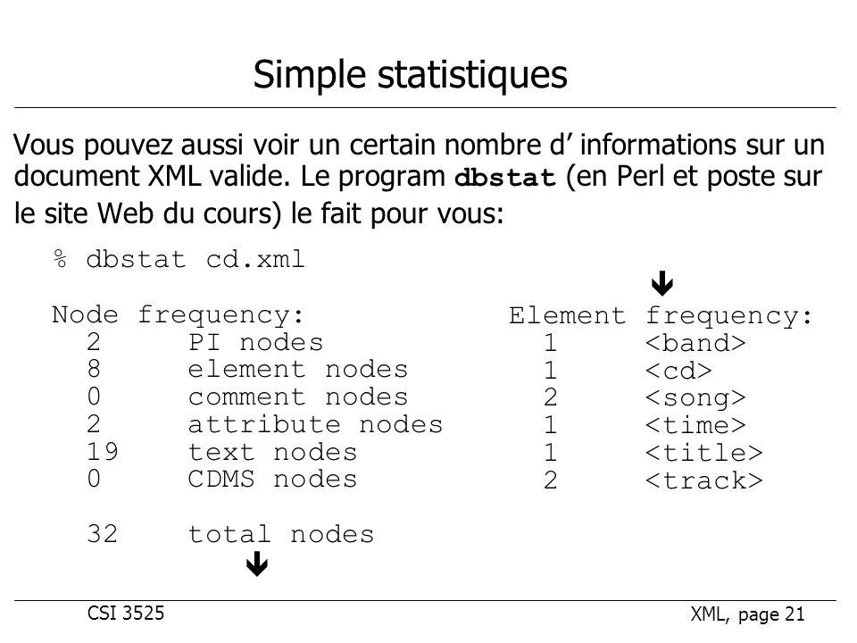 CSI 3525 XML, page 21 Simple statistiques Vous pouvez aussi voir un certain nombre d informations sur un document XML valide.