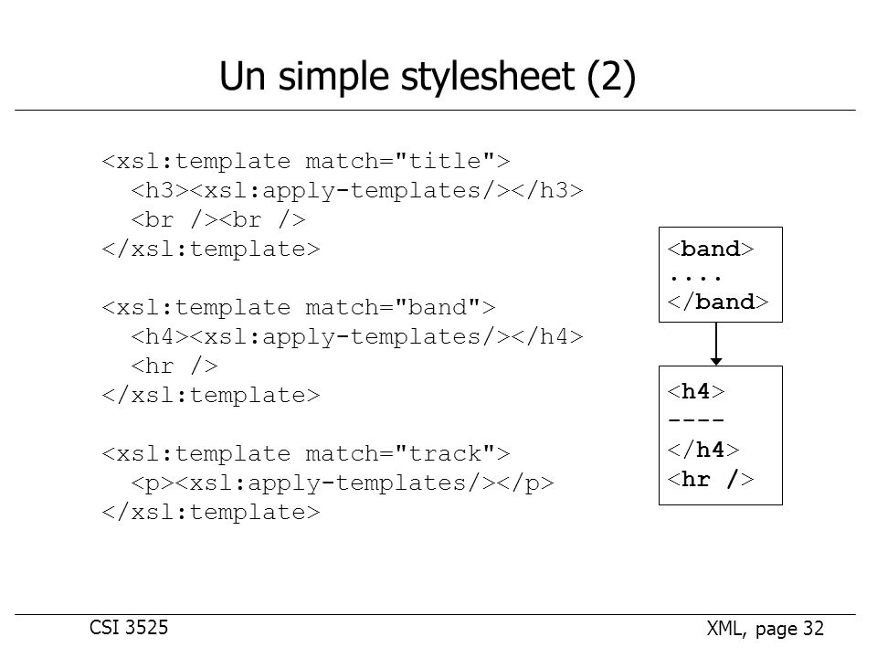 CSI 3525 XML, page 32 Un simple stylesheet (2).... ----