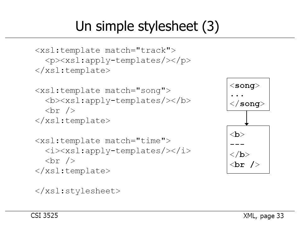 CSI 3525 XML, page 33 Un simple stylesheet (3)... ---