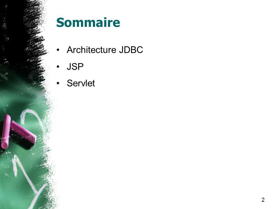 2 Sommaire Architecture JDBC JSP Servlet