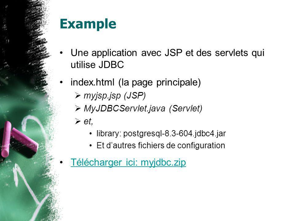 Example Une application avec JSP et des servlets qui utilise JDBC index.html (la page principale) myjsp.jsp (JSP) MyJDBCServlet.java (Servlet) et, lib