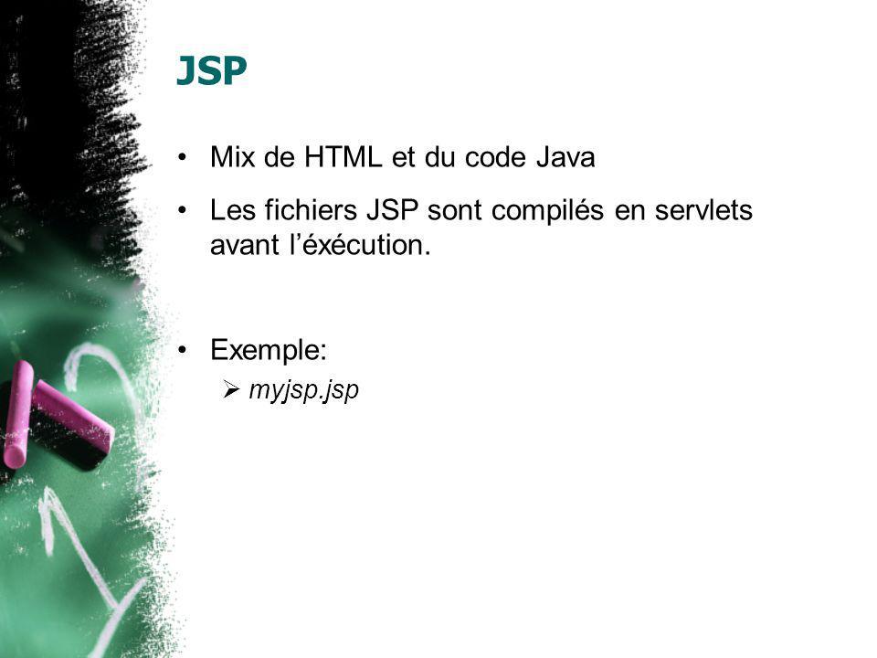 JSP Mix de HTML et du code Java Les fichiers JSP sont compilés en servlets avant léxécution. Exemple: myjsp.jsp