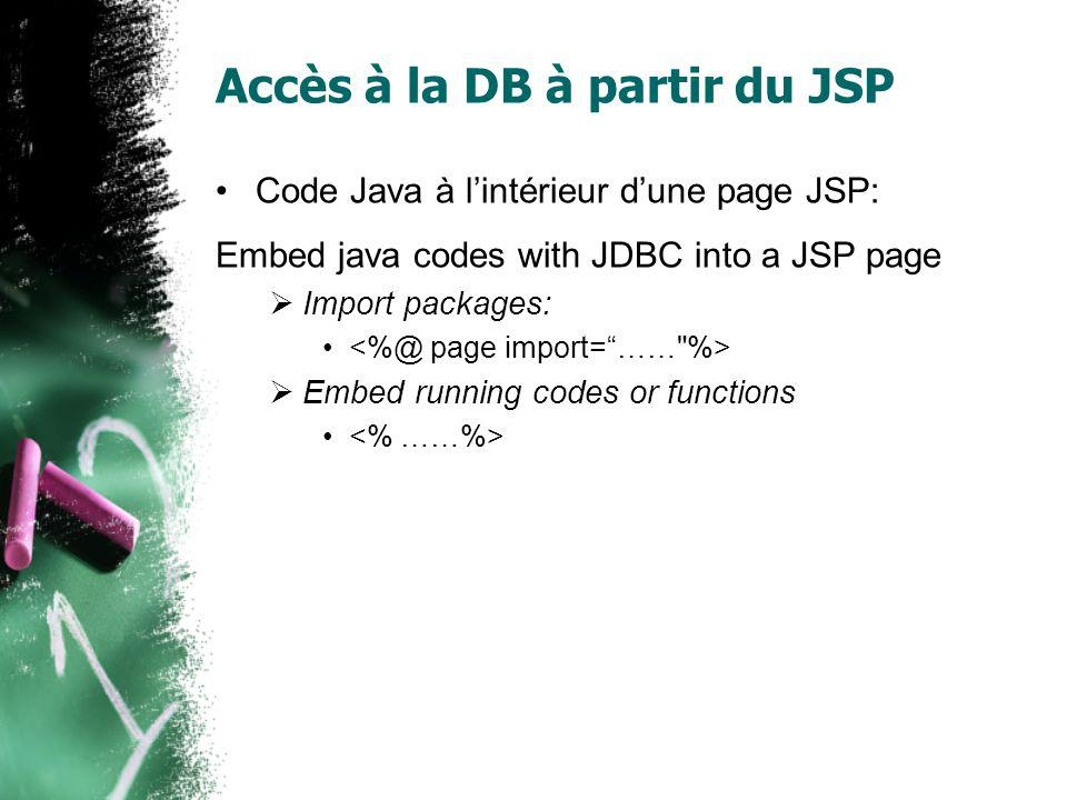 Accès à la DB à partir du JSP Code Java à lintérieur dune page JSP: Embed java codes with JDBC into a JSP page Import packages: Embed running codes or