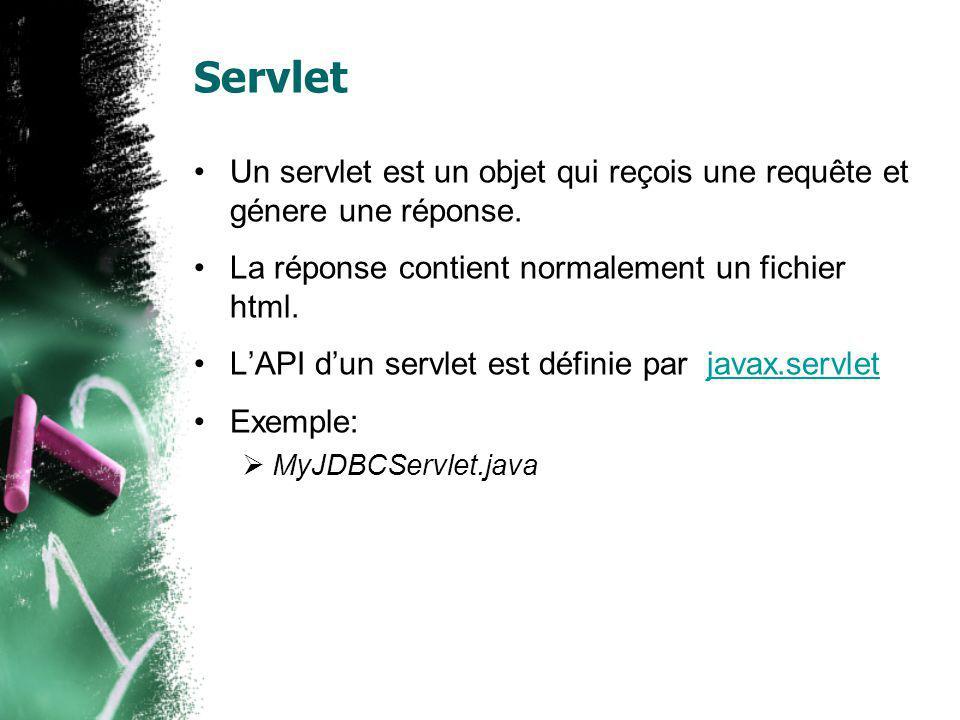 public class MyJDBCServlet extends HttpServlet { public void service(HttpServletRequest request,HttpServletResponse response) throws IOException, ServletException { response.setContentType( text/html ); PrintWriter out = response.getWriter(); out.println( ); …… Connection con = null; Class.forName( org.postgresql.Driver ); …… out.close(); } Le code daccès à la db est le même quavant HttpServlet est une classe abstraiteHttpServlet Dans la méthode service() est utiliséê pour traiter la request et construire la réponse