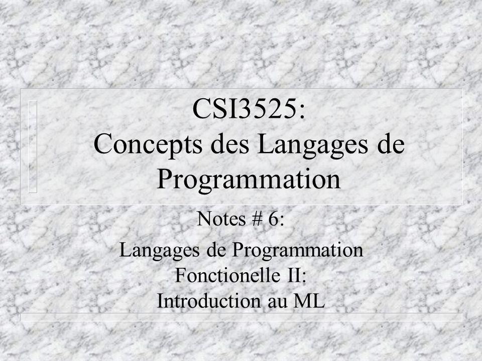 12 Fonctions Primitives: Entrée/Sortie n use nom_de_fichier (lit un programme) n print(x) (imprime un objet primitif x) n open_in(nom_de_fichier) (ouvre nom_de_fichier et retourne un pointeur de type instreamau fichier ouvert.