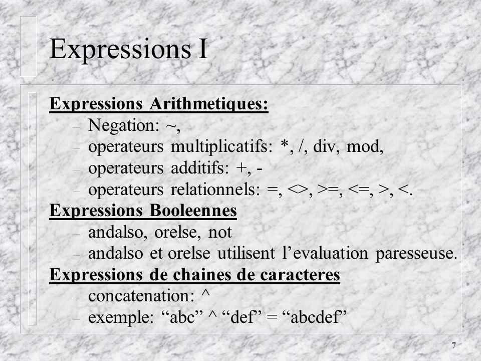 8 Expressions II Expression Conditionnelle – if expression then partie_vrai else partie_fausse – la partie else nest pas optionelle.
