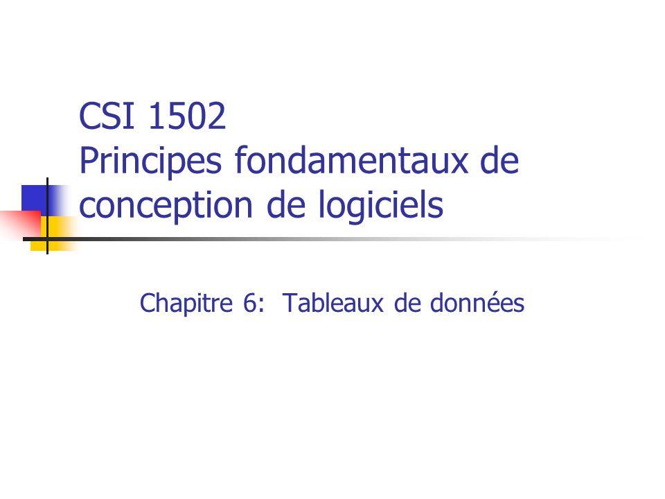 CSI 1502 Principes fondamentaux de conception de logiciels Chapitre 6: Tableaux de données