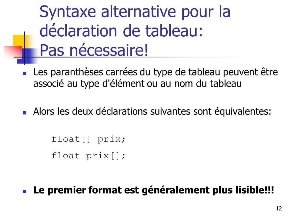 12 Syntaxe alternative pour la déclaration de tableau: Pas nécessaire.