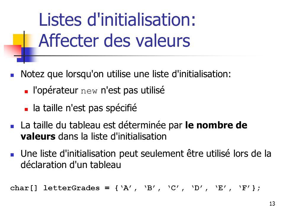 13 Listes d initialisation: Affecter des valeurs Notez que lorsqu on utilise une liste d initialisation: l opérateur new n est pas utilisé la taille n est pas spécifié La taille du tableau est déterminée par le nombre de valeurs dans la liste d initialisation Une liste d initialisation peut seulement être utilisé lors de la déclaration d un tableau char[] letterGrades = {A, B, C, D, E, F};