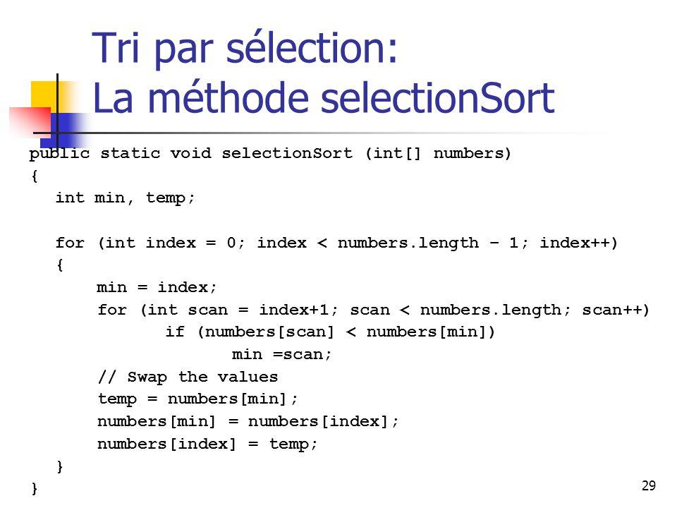 29 Tri par sélection: La méthode selectionSort public static void selectionSort (int[] numbers) { int min, temp; for (int index = 0; index < numbers.length – 1; index++) { min = index; for (int scan = index+1; scan < numbers.length; scan++) if (numbers[scan] < numbers[min]) min =scan; // Swap the values temp = numbers[min]; numbers[min] = numbers[index]; numbers[index] = temp; }
