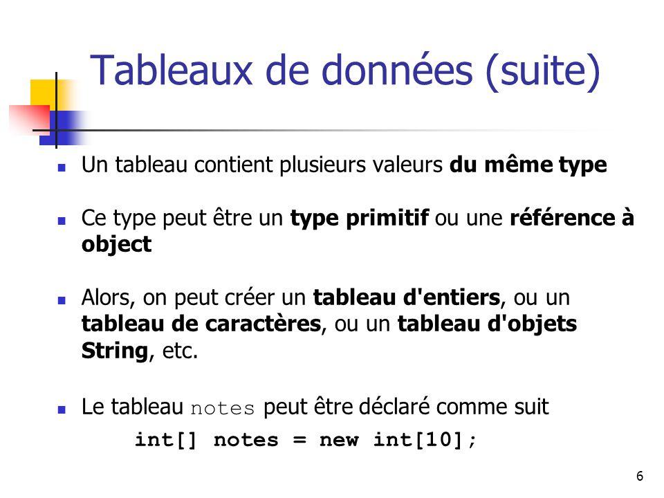 6 Tableaux de données (suite) Un tableau contient plusieurs valeurs du même type Ce type peut être un type primitif ou une référence à object Alors, on peut créer un tableau d entiers, ou un tableau de caractères, ou un tableau d objets String, etc.