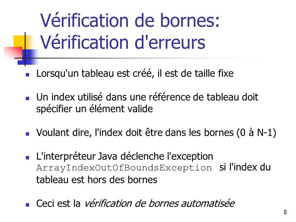 9 Vérification de bornes: Un exemple Par exemple, si un tableau codes contient 100 valeurs, il peut seulement être indexé de 0 à 99 Si compteur a la valeur 100, alors la référence qui suit va déclencher une exception: System.out.println (codes[compteur]); Il est commun d introduire des erreurs off-by-one quand on utilise des tableaux for (int index=0; index <= 100; index++) codes[index] = index*50 + epsilon; problême