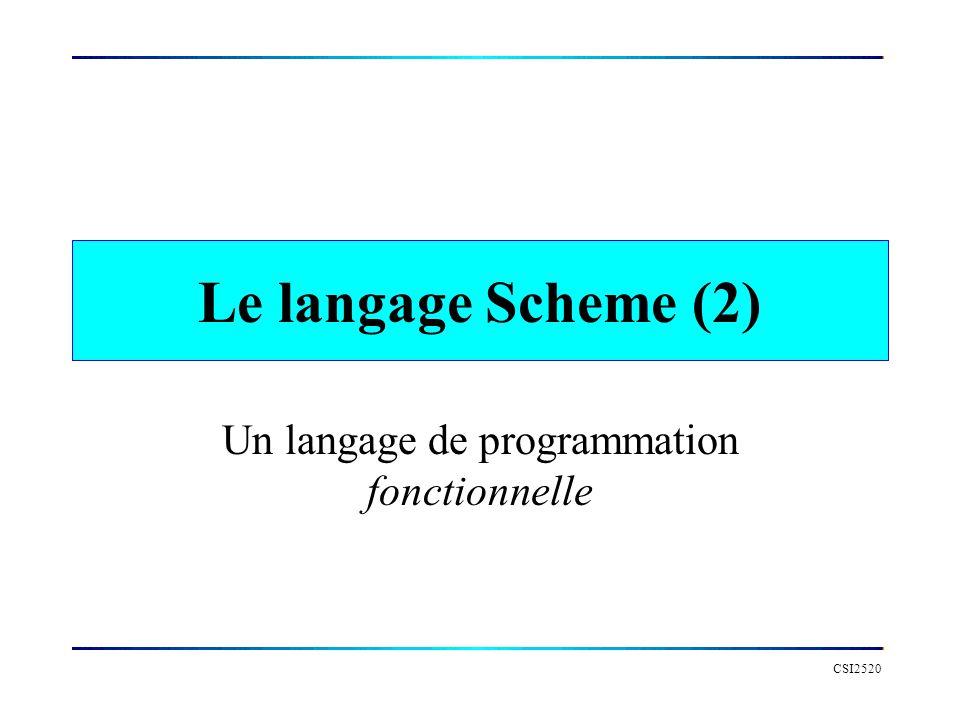 CSI2520 Le langage Scheme (2) Un langage de programmation fonctionnelle