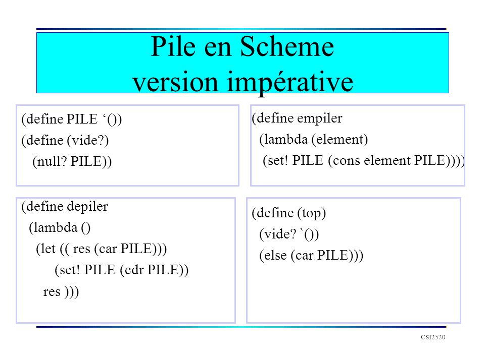 CSI2520 (define PILE ()) (define (vide?) (null.