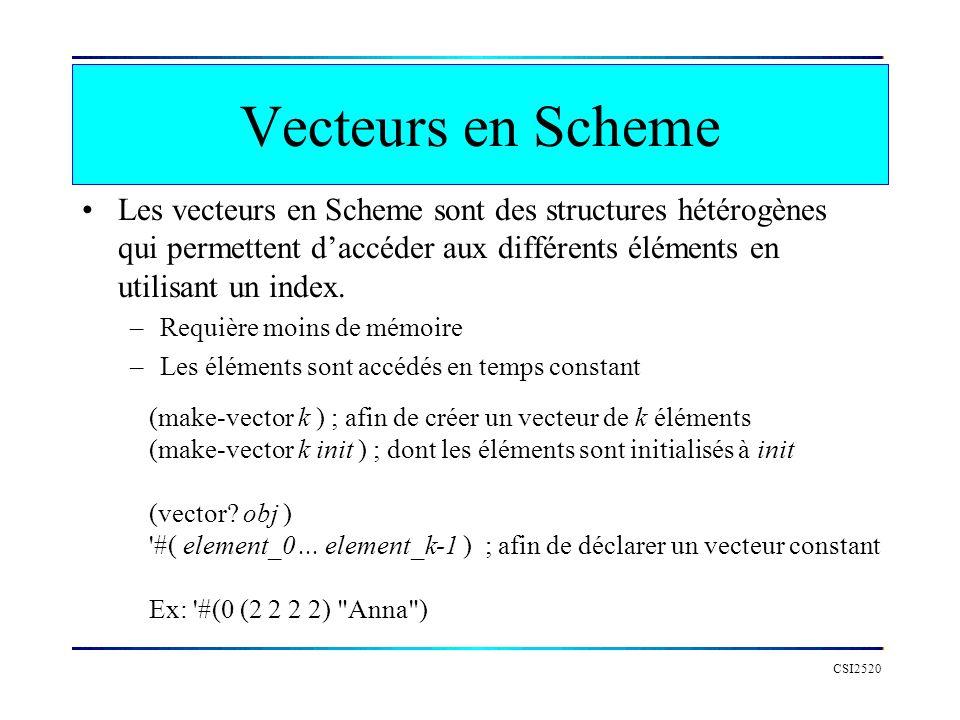 CSI2520 Les vecteurs en Scheme sont des structures hétérogènes qui permettent daccéder aux différents éléments en utilisant un index.
