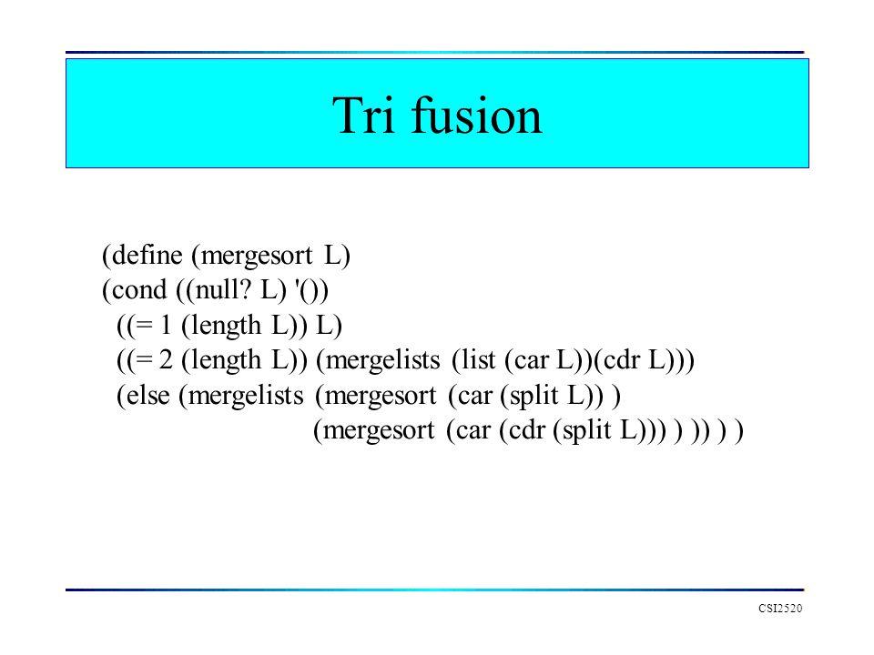 Tri fusion CSI2520 (define (mergesort L) (cond ((null.
