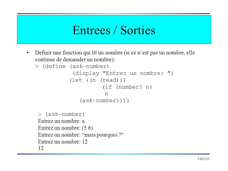 CSI2520 Definir une fonction qui lit un nombre (si ce nest pas un nombre, elle continue de demander un nombre): > (define (ask-number) (display Entrez un nombre: ) (let ((n (read))) (if (number.