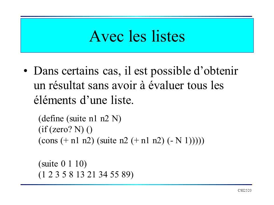 CSI2520 Avec les listes Dans certains cas, il est possible dobtenir un résultat sans avoir à évaluer tous les éléments dune liste.