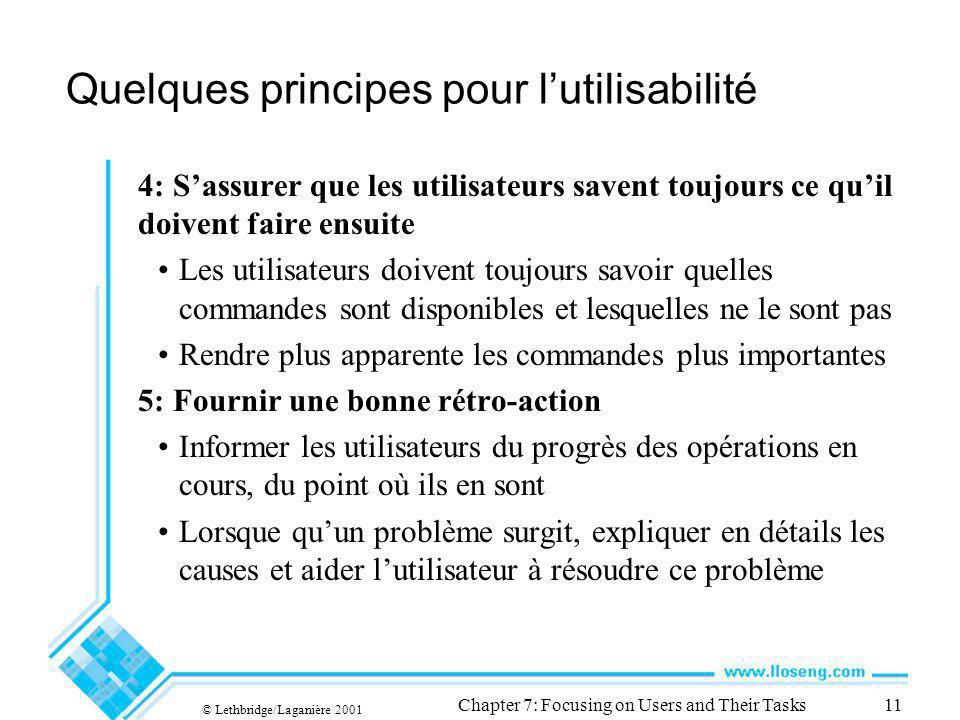 © Lethbridge/Laganière 2001 Chapter 7: Focusing on Users and Their Tasks11 Quelques principes pour lutilisabilité 4: Sassurer que les utilisateurs sav