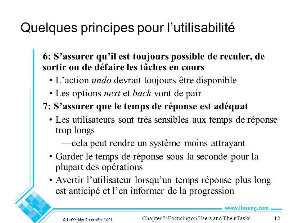 © Lethbridge/Laganière 2001 Chapter 7: Focusing on Users and Their Tasks12 Quelques principes pour lutilisabilité 6: Sassurer quil est toujours possib