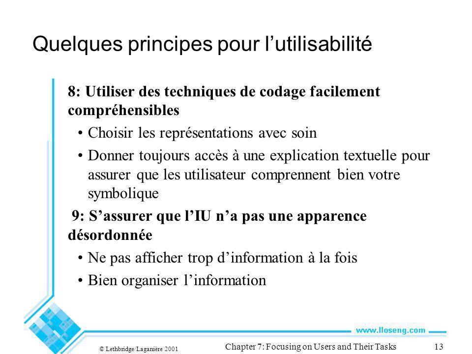 © Lethbridge/Laganière 2001 Chapter 7: Focusing on Users and Their Tasks13 Quelques principes pour lutilisabilité 8: Utiliser des techniques de codage