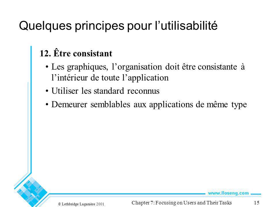 © Lethbridge/Laganière 2001 Chapter 7: Focusing on Users and Their Tasks15 Quelques principes pour lutilisabilité 12. Être consistant Les graphiques,