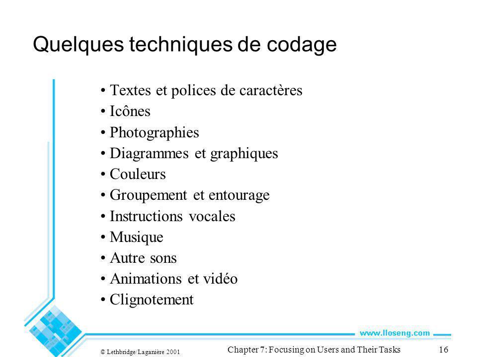 © Lethbridge/Laganière 2001 Chapter 7: Focusing on Users and Their Tasks16 Quelques techniques de codage Textes et polices de caractères Icônes Photog