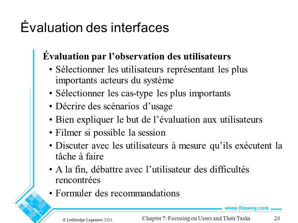 © Lethbridge/Laganière 2001 Chapter 7: Focusing on Users and Their Tasks20 Évaluation des interfaces Évaluation par lobservation des utilisateurs Séle