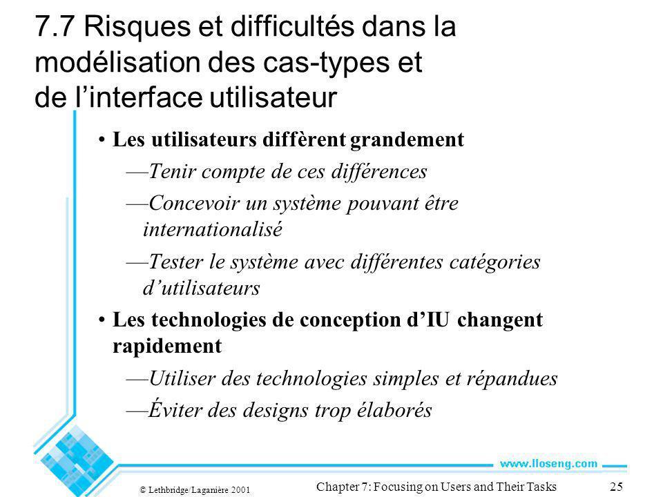 © Lethbridge/Laganière 2001 Chapter 7: Focusing on Users and Their Tasks25 7.7 Risques et difficultés dans la modélisation des cas-types et de linterf