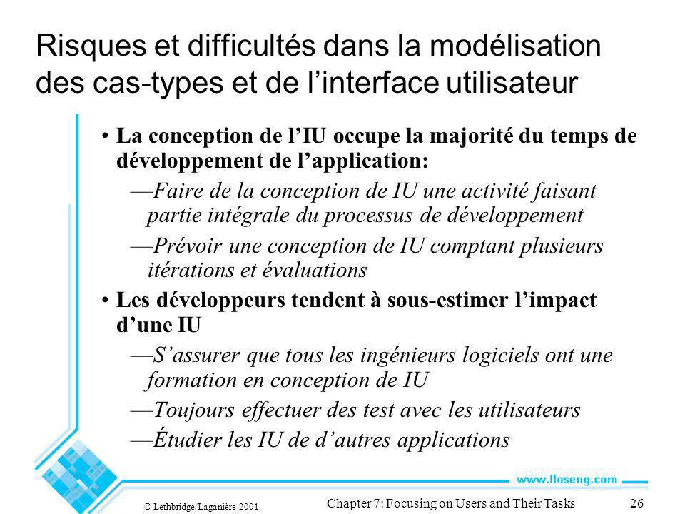 © Lethbridge/Laganière 2001 Chapter 7: Focusing on Users and Their Tasks26 Risques et difficultés dans la modélisation des cas-types et de linterface